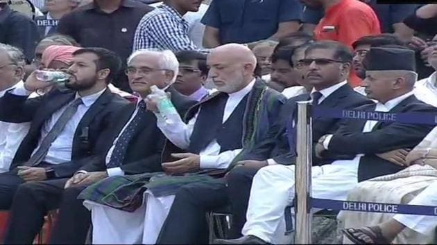 Former Afghan President Hamid Karzai at the funeral of former Prime Minister Atal Bihari Vajpayee.(ANI/Twitter)