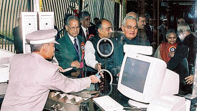 The first section of the Metro between Shahdara and Tis Hazari (now Red Line) was inaugurated by Vajpayee on December 24, 2002.(HT File Photo)