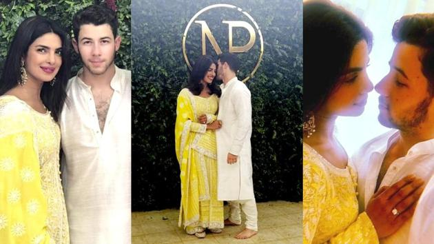 A large wall covered in greenery made the perfect backdrop for all of Nick Jonas and Priyanka Chopra's engagement photos. (Instagram)
