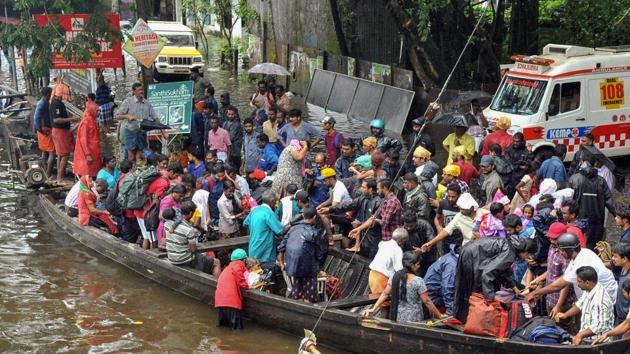 Rescue operations being carried out at flood-affected regions, in Kochi on August 18, 2018.(PTI Photo)
