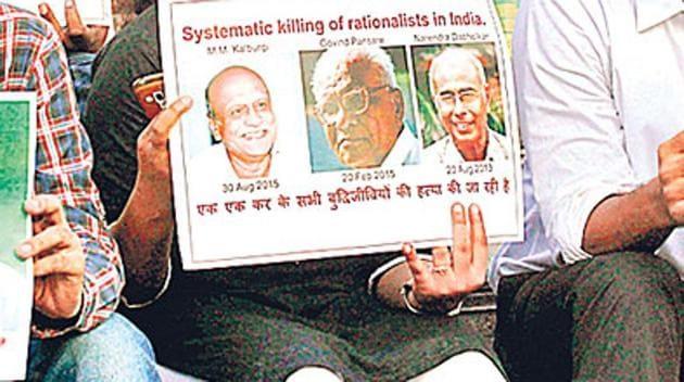 Sanatan Sanstha's name has featured in the killings of rationalist Dr Narendra Dabholkar, Kannada scholars MM Kalburgi and Govind Pansare, and in the murder of journalist Gauri Lankesh.(HT File Photo)