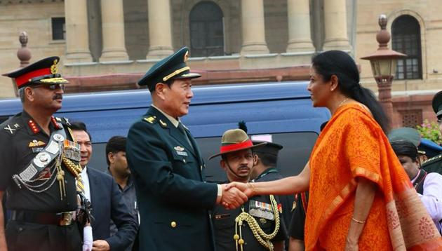 Nirmala Sitharaman and her Chinese counterpart General Wei Fenghe held a bilateral meeting on Thursday(Nirmala Sitharaman ANI Twitter)