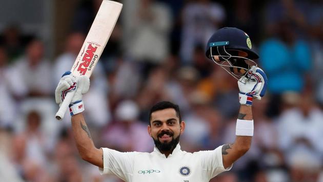 Virat Kohli celebrates after scoring a century in the second innings of the Trent Bridge Test.(REUTERS)