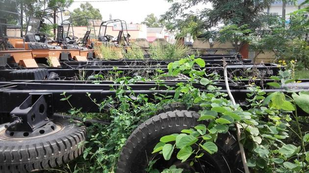 Unused chassis biting dust at fire station in Viishwakarma fire station, for past four years, in Jaipur.(HT Photo)