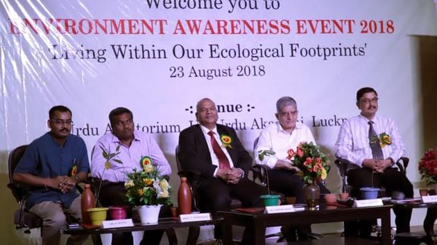 Environment experts at an environmental awareness function held at Urdu Academy in Lucknow.(HT Photo)