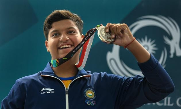 Indian shooter Shardul Vihan celebrates after winning silver medal in Men's Double Trap event during the 18th Asian Games Jakarta Palembang 2018, in Indonesia , Aug 23(PTI)