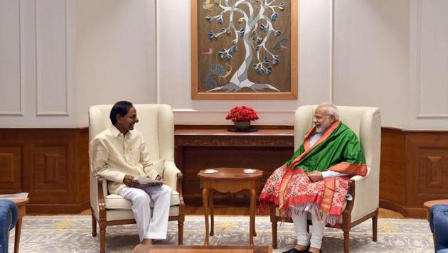 The chief minister's office said KCR, in his 20-minute meeting with the Prime Minister, raised as many as 14 issues pertaining to the state.(ANI Photo)
