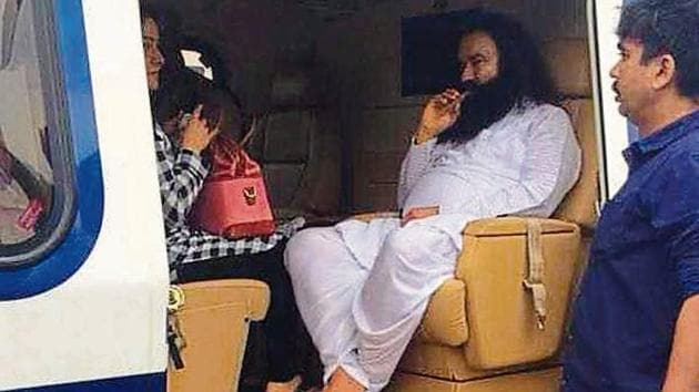 Gurmeet Ram Rahim Singh and his aide, Honeypreet, being flown to Sunaria jail near Rohtak after he was convicted by a CBI court in Panchkula on August 25, 2017.(HT File)