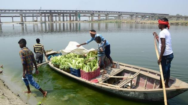 A farmer's family ferrying vegetables across the Ganga on boats after harvesting them from their field on the banks of the river in Phaphamau.(HT Photo)