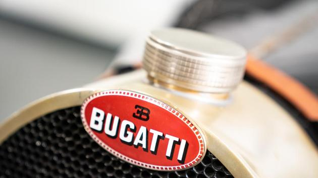 A badge is displayed on a Pur Sang Argentina Bugatti 35b vintage vehicle in Hong Kong, China, on Tuesday, July 3, 2018.