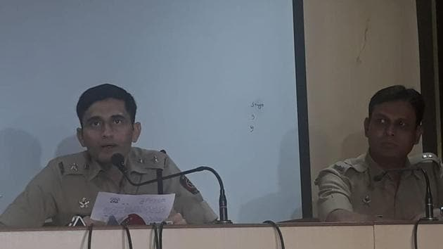 Sandip Patil (left), newly appointed SP (Pune rural) along with Sandip Jadhav, additional SP (Pune division), addressing the media at Pune rural police headquarter on Saturday.(HT PHOTO)