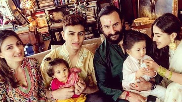 Saif Ali Khan with his family on Raksha Bandhan.