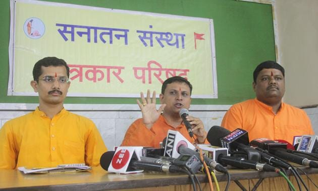 Representatives of Sanatan Sanstha addressed a press conference in Mumbai, on Monday, during which they said all those arrested by Maharashtra ATS are not a part of their organisation.(HT File)