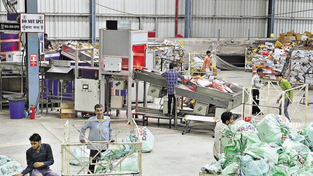The Ecom Express warehouse at Bilaspur Tawro Road, Gurugram. Industry experts say 60% of the 38 million square feet warehousing stock in Delhi-NCR has come up in Gurugram.(Sanjeev Verma/HT File)
