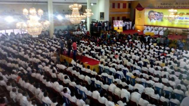 DMK general council meeting in Chennai, August 28, 2018.(HT Photo)