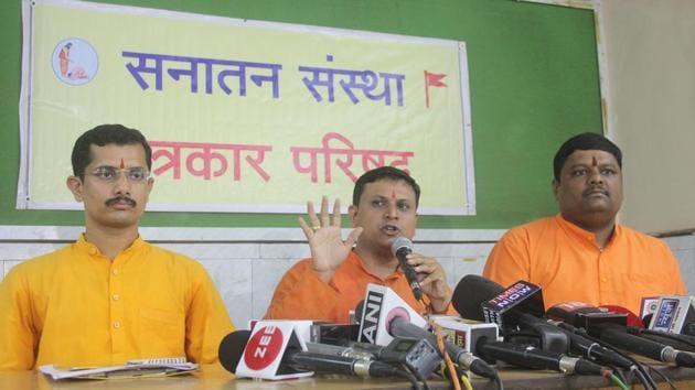 """We wish to reiterate that none of these individuals are our seekers,"" said Sanatan Sanstha spokesperson Chetan Rajhans.(Bhushan Koyande/HT)"