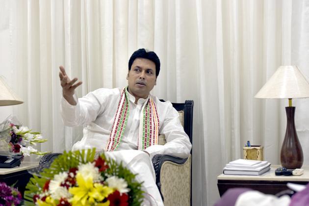 Tripura chief minister Biplab Deb.(Sushil Kumar/HT file photo)