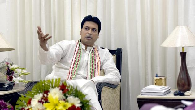 Biplab Kumar Deb has made many controversial statements since he became the Tripura chief minister earlier this year.(Sushil Kumar/HT Photo)