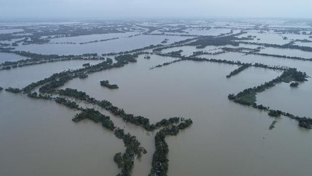 An aerial view of flooded Kuttanad in Alappuzha district on August 19.(AP Photo)