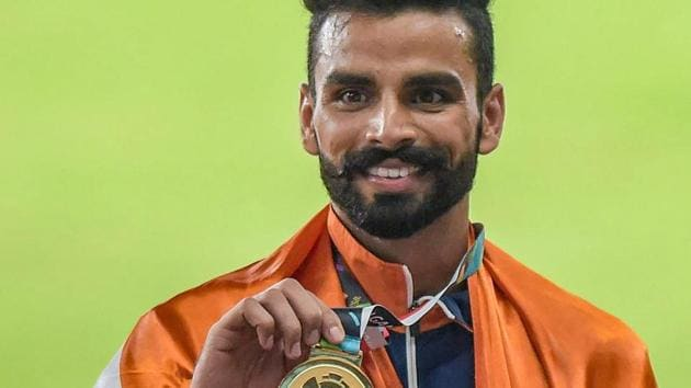 Gold medal winner India's Arpinder Singh at the medal ceremony of men's triple jump event at the 18th Asian Games 2018 in Jakarta, Indonesia on Wednesday, Aug 29, 2018. (PTI Photo/Vijay Verma) (PTI8_29_2018_000234B)(PTI)