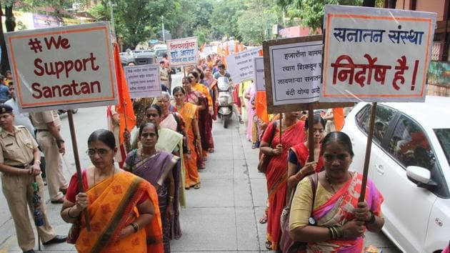 Hundreds of women take part in the protest organised by the Sanatan Sanstha Thane to voice their support for the Sanatan Sanstha.(Praful Gangurde/ Hindustan Times)