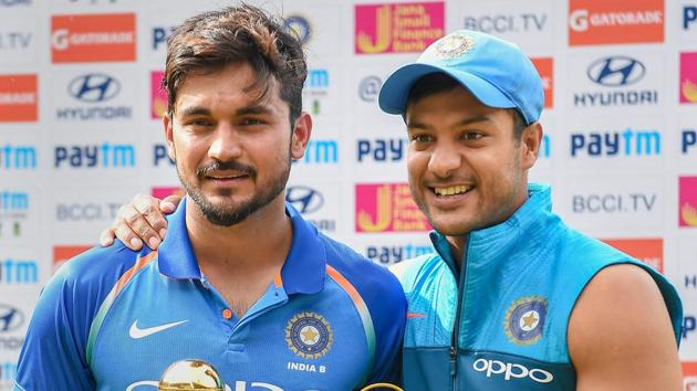 Bengaluru: India B skipper Manish Pandey and Mayank Agarwal pose with the 'Winner' and 'Man of the Match' trophy after beating Australia A in the Quadrangular 'A' Series final match, at Chinnaswamy Stadium in Bengaluru on Wednesday, Aug 29, 2018.(PTI)