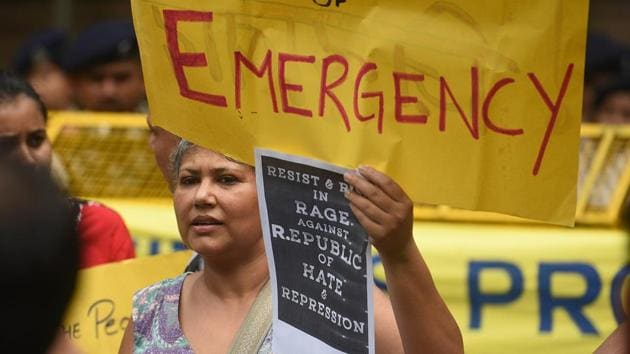 Citizens stage a protest against the police raids and illegal arrest of human right activists, at Maharashtra Sadan, in New Delhi, India, on Wednesday, August 29, 2018.(Raj K Raj/HT PHOTO)