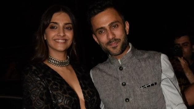 Sonam Kapoor along with her husband Anand Ahuja during the launch of Jacqueline Fernandez's new restaurant in Mumbai.(IANS)