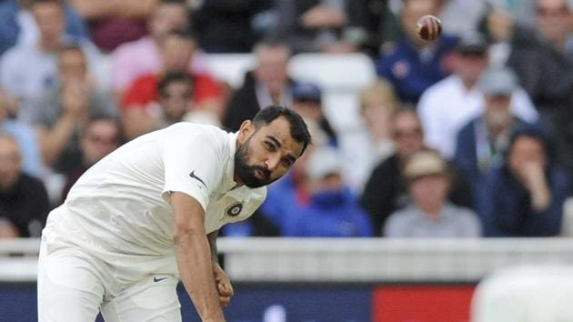 Nottingham: Mohammed Shami bowls during the second day of the third cricket test match between England and India at Trent Bridge in Nottingham.(AP)