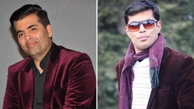 Karan Johar and his doppelganger nurture the same love for velvet jackets.(Twitter)