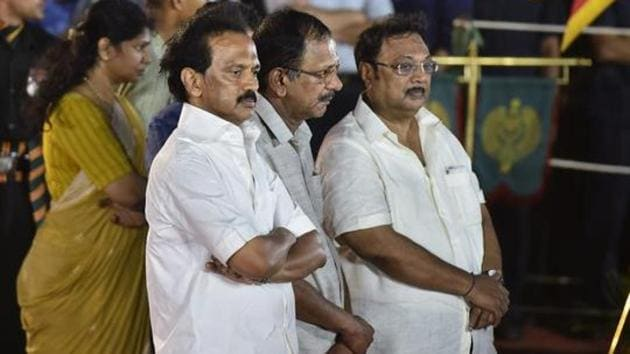 Azhagiri had stayed away from the family until Karunanidhi fell ill in 2016. He started visiting Karunanidhi and renewed his relationship with everyone in the family except Stalin.(PTI/File Photo)