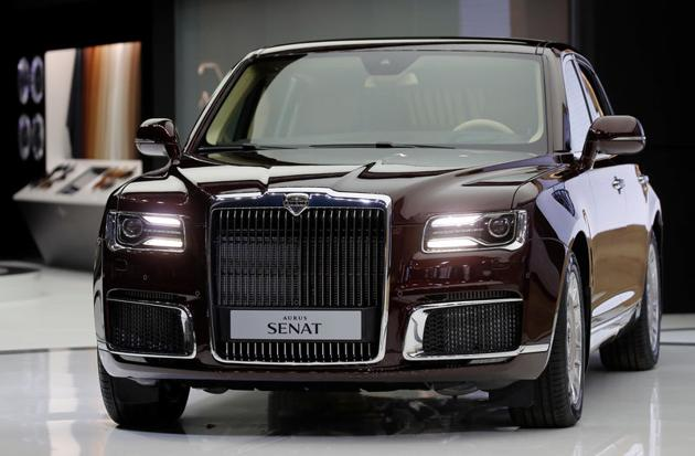 The Aurus Senat is presented at the 2018 Moscow International Auto Salon in Moscow, Russia.
