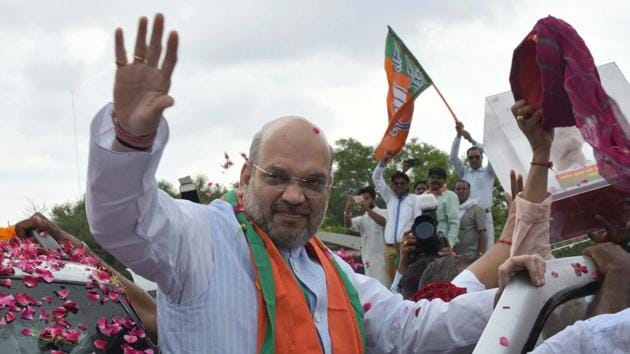 BJP National President Amit Shah during an earlier visit to Jaipur.(HT File Photo)