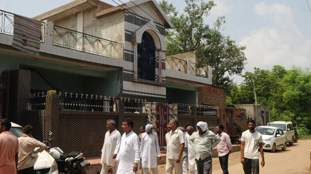 A view of the house in which three members of a family were found dead, in Brijpura village of Pataudi, around 43 kilometers from Gurugram, on Wednesday, August 29, 2018. A one-year-old girl, who had suffered serious injuries, died in the hospital, the police said.(Parveen Kumar / HT Photo)