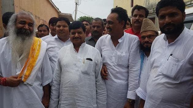 Shivpal with his supporters in Baghpat.