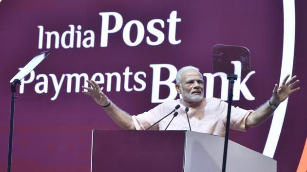 Prime Minister Narendra Modi during the launch of India Post Payments Bank at Talkatora stadium in New Delhi on September 1.(Sonu Mehta/HT PHOTO)