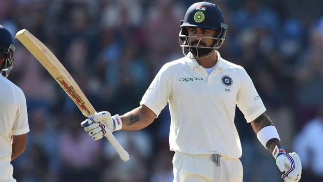 Virat Kohli scored his 19th Test fifty during the fourth day of the fourth Test against England at the Ageas Bowl in Southampton on Sunday.(AFP)