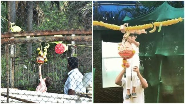 Janmashtami 2018: Shah Rukh Khan's son Abram and Shilpa Shetty's son Viaan played dahi handi at their residence.