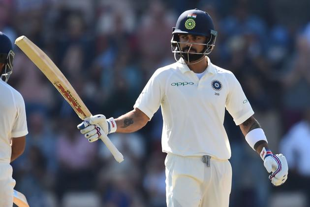 India's captain Virat Kohli celebrates reaching his fifty during play on the fourth day of the fourth Test cricket match between England and India in Southampton(AFP)
