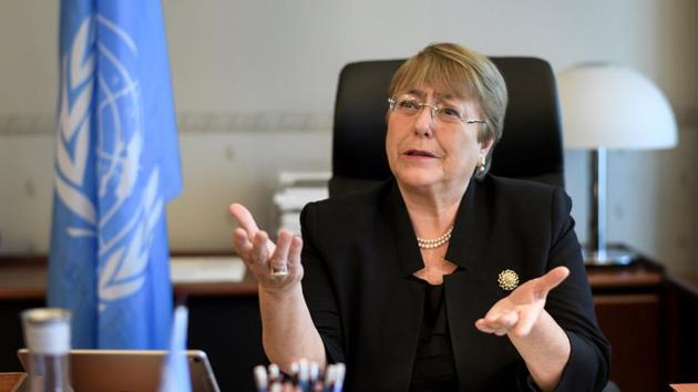 Former Chilean president Michelle Bachelet speaks from her office at the Palais Wilson on her first day as new United Nations (UN) High Commissioner for Human Rights in Geneva, Switzerland, September 3, 2018.(REUTERS)