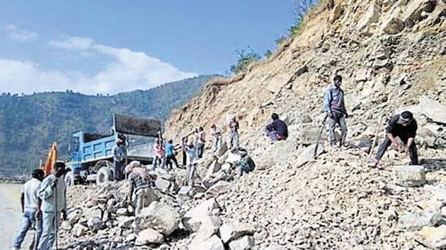 An NGO hasc alleged that the road-widening work to connect Kedarnath, Badrinath, Yamunotri and Gangotri was being carried out in violation of environmental laws.(HT File)