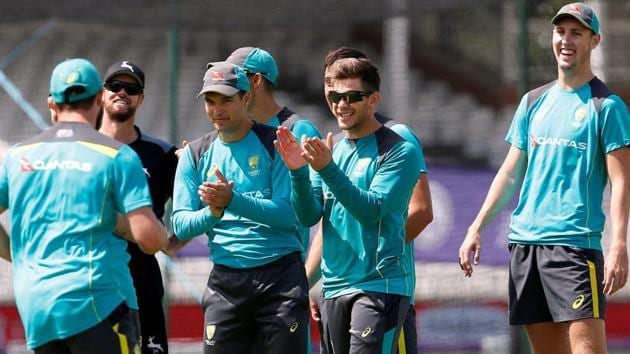 Australian cricket team captain Tim Paine and teammates during a net session.(REUTERS)