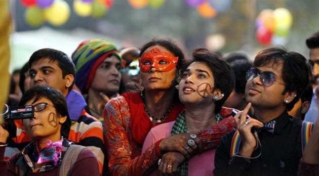 Members and supporters of the LGBT community at a Gay Pride Parade in New Delhi.(HT/File Photo)