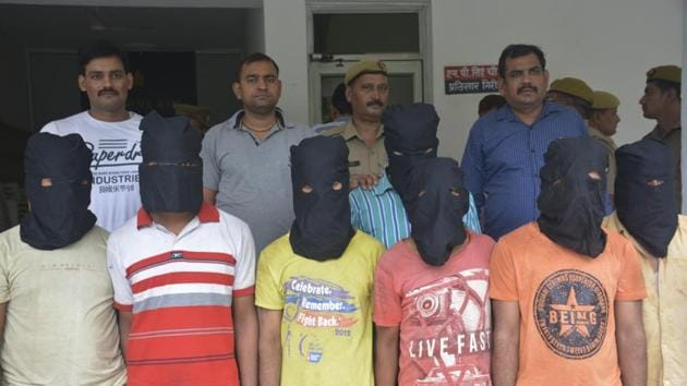 Ghaziabad police arrested seven persons on charges of looting a truck loaded with medicines and medical equipment . Three other gang members are on the run.(Sakib Ali / HT Photo)
