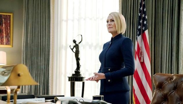 Robin Wright sheds no tears over Kevin Spacey's death in a blunt preview of House of Cards' final season. (Twitter)