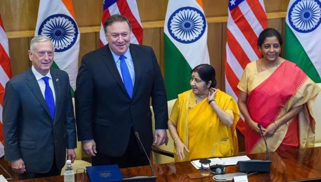 External affairs minister Sushma Swaraj and defence minister Nirmala Sitharam held wide-ranging talks with their US counterparts, Secretary of State Mike Pompeo and defence secretary Jim Mattis.(PTI Photo)