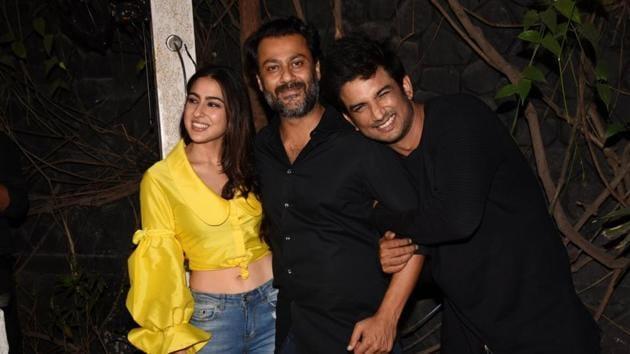 Sushant Singh Rajput, Sara Ali Khan and Abhishek Kapoor at the wrap-up party of their upcoming film Kedarnath in Mumbai on July 1, 2018.(IANS)