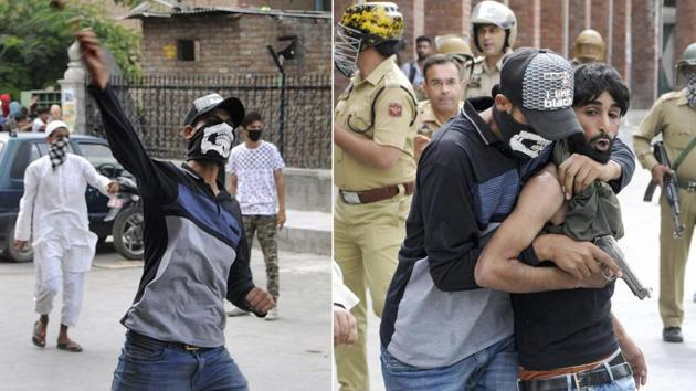 A new strategy, J&K police disguise themselves as stone pelters and catch the actual culprits while in action. An undercover cop (left) hurling stones at police and the same policeman arresting a stone pelter (right), in Srinagar, Friday, Sept 7, 2018.(PTI Photo)