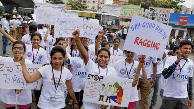 Students participate in an anti-ragging rally.(PTI File Photo)