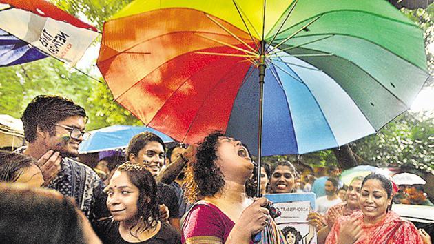 Members and well-wishers of the LGBTQ community celebrate the Supreme Court verdict. (Raj K Raj/ HT Photo)